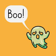 Cute ghost and speech bubble with text Boo Stock Illustration