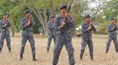 Soldiers practise gun shooting,Ubon Ratchathani,Thailand Stock Footage