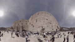Praying at the Western Wall, Jerusalem, Israel 360 video panorama for TV Stock Footage