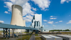 New Power Station And Blue Sky Timelapse Stock Footage