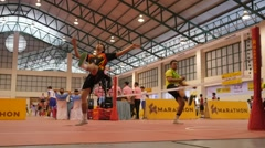 SLOWMOTION succesful kick smash at Sepak Takraw match,Ubon Ratchathani,Thailand Stock Footage