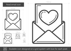 Read email line icon Stock Illustration