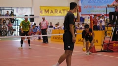 SLOWMOTION Serving at Sepak Takraw match,Ubon Ratchathani,Thailand Stock Footage
