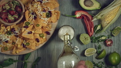 4k Traditional Mexican Food and Beer, Opening Bottle and Pouring Stock Footage