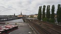 Traffic in Slussen Area, Stockholm, Sweden Stock Footage