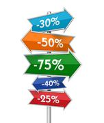 Discount placards concept 3d illustration Stock Illustration