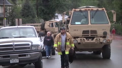 Stranded people are rescued from a emote community during flooding in Colorado Stock Footage