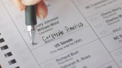 A voter writes in Corporate America for the President of the United States Stock Footage