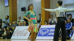 Thai couple dance Cha-Cha-Cha at contest,Ubon Ratchathani,Thailand Stock Footage