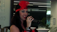Woman singer sings in the restaurant - celebration event - closeup Stock Footage