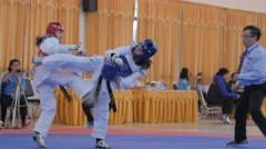 Female taekwondo players fighting match,Ubon Ratchathani,Thailand Stock Footage