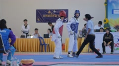 Start match of male Taekwondo players,Ubon Ratchathani,Thailand Stock Footage