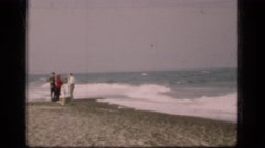 1948: rough surf, no swimming allowed, tropical storm coming! Stock Footage