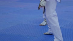 Taekwondo player feet in action,Ubon Ratchathani,Thailand Stock Footage