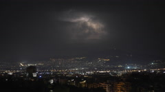 Athens skyline establish shot at night,lightnings and thunderstorm Stock Footage