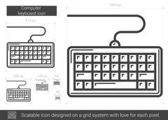 Computer keyboard line icon Stock Illustration