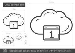 Cloud calendar line icon Stock Illustration