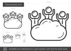 Cloud access line icon Stock Illustration