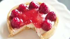 Eating a Raspberry Tart With a Fork and a Knife, Cutting a Piece,extreme Close Stock Footage