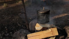 Kettle on the Fire. Camping, Nature. Stock Footage
