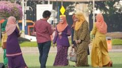 Muslim woman making selfie,Kuala Lumpur,Malaysia Stock Footage