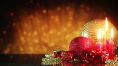 Christmas decorations and golden glitters Stock Footage
