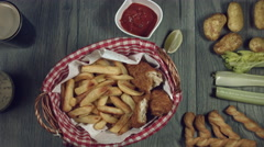 4k Traditional Irish Fish and Chips with Guinness, Taking the Lid Stock Footage