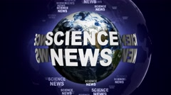SCIENCE NEWS Text Animation and Earth, Loop, 4k Stock Footage