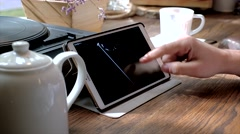 Apple store USA on tablet computer screen with modern Iphon 7 presentation Stock Footage