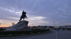 St. Petersburg time-lapse photography Bronze Horseman at sunset Stock Footage
