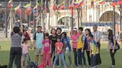 Tourists making jump photo on Merdeka square,Kuala Lumpur,Malaysia Stock Footage