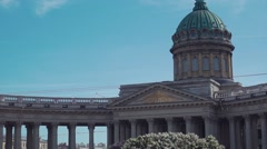 View of top dome Kazan cathedral in Saint Petersburg. Summer sunny day Stock Footage