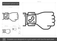 Wristwatch phone line icon Stock Illustration