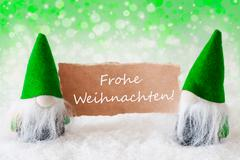 Green Natural Gnomes With Card, Frohe Weihnachten Means Merry Christmas Kuvituskuvat