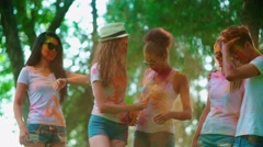 Cheerful company of young of different nationality friends having fun. Stock Footage