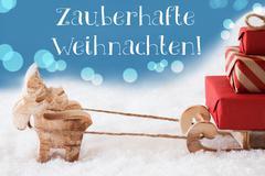 Reindeer, Sled, Light Blue Background, Weihnachten Means Magic Christmas Kuvituskuvat