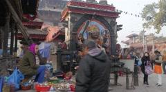 Shiva temple on Durbar Square,Kathmandu,Nepal Stock Footage