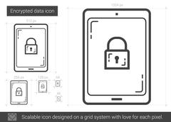 Encrypted data line icon Stock Illustration