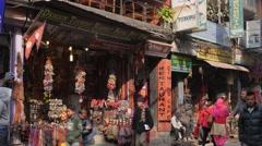 Souvenir shops in Thamel,Kathmandu,Nepal Stock Footage