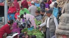 Vegetable sellers on Durbar square,Kathmandu,Nepal Stock Footage