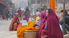 Flower sellers on Durbar square,Kathmandu,Nepal Stock Footage