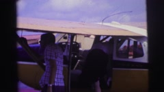 1979: checking on an airplane Stock Footage