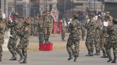 Military band on Tundikhel grounds,Kathmandu,Nepal Stock Footage