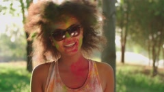Closeup of young beautiful African American girl having fun in the Park. Stock Footage