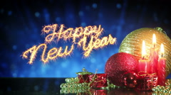 Happy new year greetings sparkler last 10s loopable Stock Footage