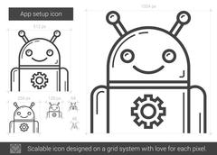 App setup line icon Stock Illustration