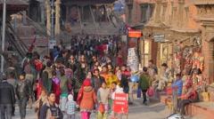 Crowds on Durbar square ,Kathmandu,Nepal Stock Footage