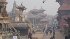 People walking on Durbar square,Patan,Nepal Stock Footage