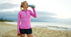 Athletic Woman Drinking Sports Drink Stock Footage