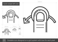 Quick swipe left line icon Stock Illustration